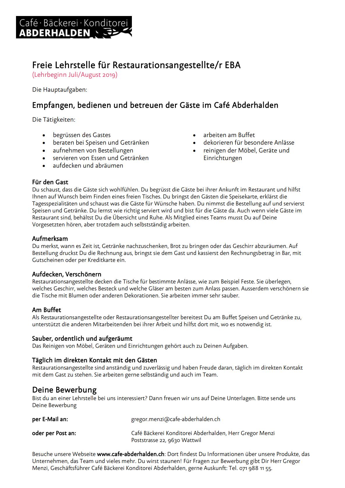 Cafe Abderhalden Stellenanzeige Lehre Restauration