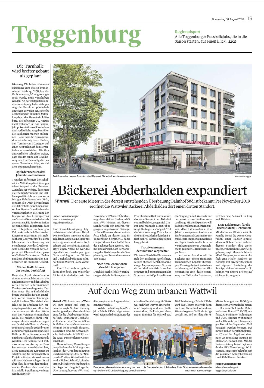 Zeitungsartikel Baeckerei Abderhalden expandiert
