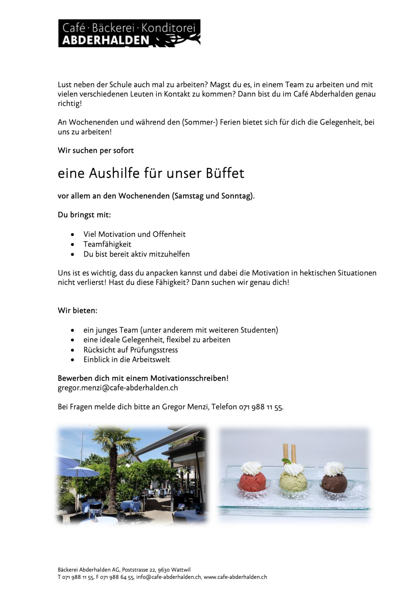 Cafe Abderhalden Stellenanzeige Aushilfe Buffet